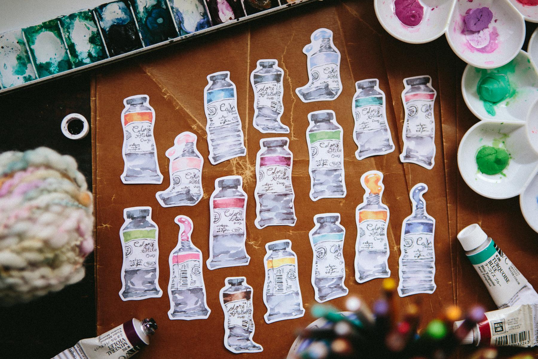 水彩條 貼紙包