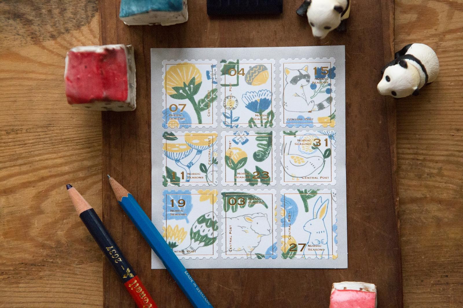 北歐四季冬天 - 郵票貼紙