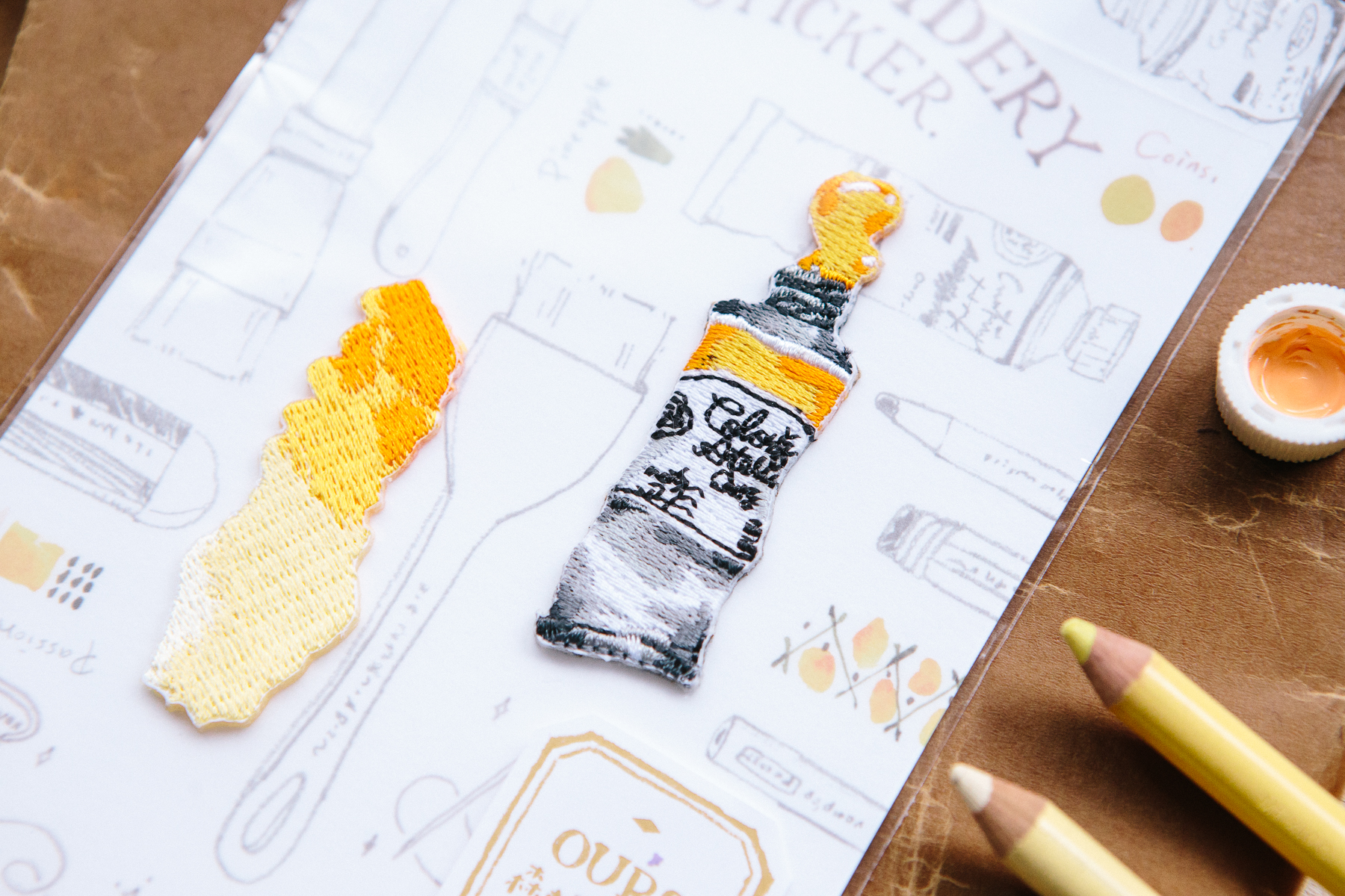 黃水彩 繡片貼紙